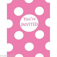 PINK POLKA DOT INVITATIONS (8) ~ Birthday Party Supplies Stationery Cards Invite