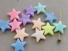 25 Assorted Color Star 22mm Acrylic Beads(G58L29)