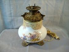 Antique Milk Glass Floral Oil Kerosene Lamp Base Hand Painted converted Electric