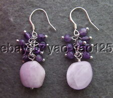 E1307006 Natural Pink kunzite&Amethyst Earrings-925 Silver Hook