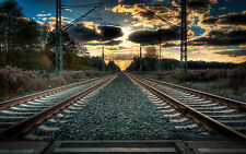 Framed Print - Double Train Track Leading Off into the Distance (Picture Poster)