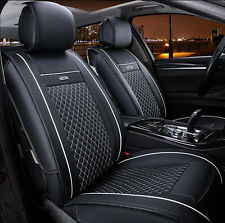 Seat Covers Cushion  PU Leather  For All 5-Seat Car Black&White Year Round 6pcs