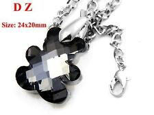 c001356 Faceted Crystal Glass Black Bear Silver Back Bead Pendant Chain Necklace