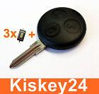 3Tasten Schlüssel Gehäuse Rohling für Smart ForTwo-MC01 450+ 3x Micro Taster