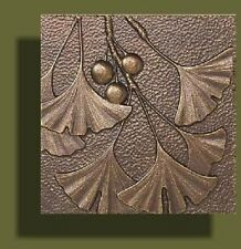 "Arts and Crafts Copper Tone Gingko Tile by Whitehall 8"" x 8"""