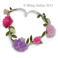 GIRLS FESTIVAL FLOWER HEADBAND HEAD HAIR BAND ELASTIC FLORAL CROWN GARLAND HIPPY