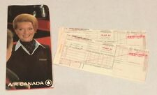 Vtg Air Canada Airline Passenger 2 Tickets Baggage Holder Sleeve Braniff 1980
