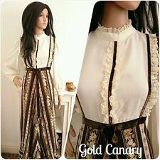 Vintage 70s Cream Lace Floral Boho Victorian Cotton Prairie Maxi Dress 10 12 38