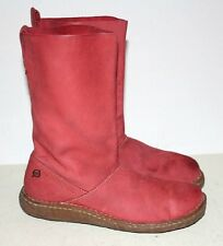 Women's BORN Red Nubuck Leather Calf High Boots Size 7.5 M