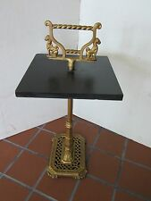Antique Cast iron black slate table stand panthers Egyptian America Regency 1950