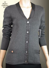 NWT$128 JUICY COUTURE Women SMALL Grey Gray Cardigan Sweater DRESSY