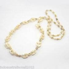 Beach Collection Natural Conch Sea Shell  Beads Long Necklace (NJEW-O014-03B)