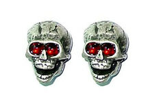 Guitar Parts SKULL KNOBS Set of 2 - SILVER / RED Eyes