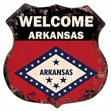 BP-0041 WELCOME ARKANSAS State Flag Shield Rustic Chic Sign Bar Shop Home Decor