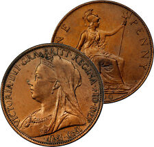 1900 UK GREAT BRITAIN PENNY RED BROWN UNC BU COIN