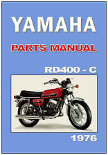 YAMAHA Parts Manual RD400 RD400C 1976 USA Canada Replacement Spares Catalog List