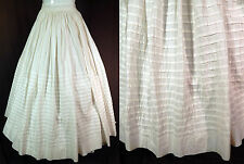 Victorian Civil War Era 1860s White Cotton Pleated Petticoat Full Hoop Skirt Vtg