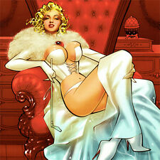 """MARILYN MONROE Signed ART PRINT Franchesco WHITE QUEEN Emma Frost 17 x 11"""" NEW"""