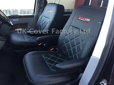 VW Transporter T5 Van Seat Covers-  2 Singles White bentley stitch X150BK-WT SL