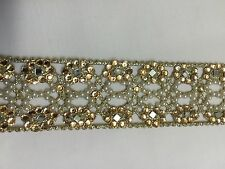 ATTRACTIVE INDIAN FINE CUTWORK PEARL AND CRYSTALS JALI LACE/TRIM - SOLD BY YARD