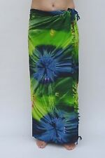 NEW PREMIUM QUALITY BLUE GREEN TIE DYE SARONG PAREO BEACH SKIRT WRAP / sal535P