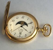 1990 Colibri moon phase Swiss made date gold p. Quartz pocket watch