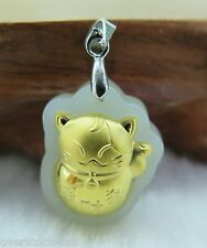 CERTIFIED 24K Gold A GRADE Hetian Jade Wealth Cat Pendant (Nephrite)