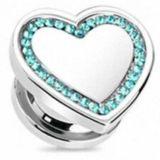 Pair of Stainless Steel Multi crystal Heart Ear Tunnel Plug Piercing
