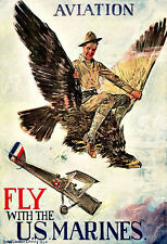 Fly with the US Marines Airplane Areoplane Plane   Poster Print