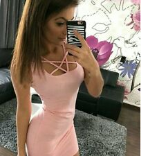 Pink fashionable casual 1 piece dress