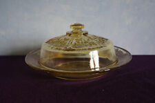 Federal Glass Sharon Cabbage Rose butter dish w/lid amber yellow depression GUC