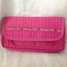 Mundi Sport PINK Nylon Organizer Wallet Zipper Top Wristlet Handbag Purse