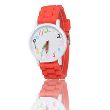 Red Kids Girls Boys Pencil Style Geneva Wrist Watch Jelly Exquisite Watches