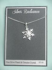 Silver Radiance Snowflake Fine Silverplate & Genuine Crystal Necklace