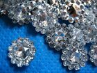 50 x SILVER 11mm FLOWER SHAPED GEMS PERFECT FOR BOW CENTRES HEADBAND CARD MAKING