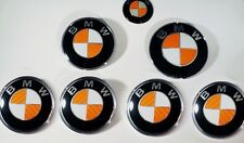 ORANGE CARBON FIBER Complete Set of Vinyl Sticker Overlay All BMW Emblems