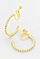 "1"" gold crystal bridal prom hoop clip on earrings non pierced basketball wives"