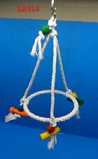 "LB314 14"" HIGH HANGING RING ROPE PERCH COLOR BLOCKS KNOTS BIRD TOY CONURE TIEL"