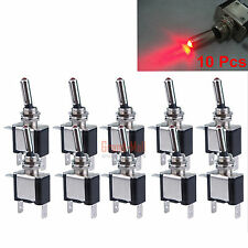 10x 12V Red LED Light Car Truck Boat Rocker Toggle Switch SPST ON/OFF Switches