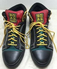 Vintage BOKS Hip Hop Shoes Black Green Red Yellow Leather Reeboks SZ 6.5 US 4 UK