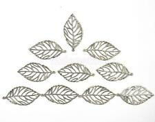 10x Silver Tone Metal Filigree Leaf Charms Pendants Jewelry Findings 50x25mm