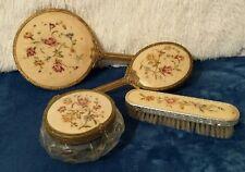 Vintage gold brass filligree dressing table vanity set embroidered