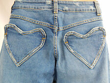 Nos Rock Steady USA Heart Pocket Blue Jeans Denim Distressed Cargo Low Rise 5