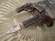 Ridge Runner Mini Antique Gun Pocket Knife/Knives 2 Pc Set Derringer .38 New