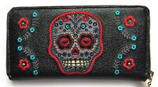 Banned Sugar Skull Muerto Faux Leather Wallet Purse pschobilly horror goth BLACK
