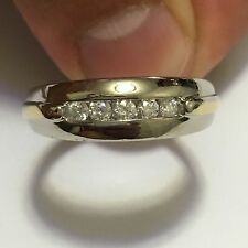 Amazing 14k Two Tone W/Y Gold .50Ct Diamond Mens Wedding Band / Ring Sz 11.5