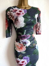 Phase Eight grey floral bodycon dress size 8
