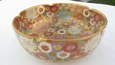 """Japanese Satsuma Mille-Fleur Scalloped Bowl Gilt 1000 Flowers 6 inch and 2 1/2 """""""