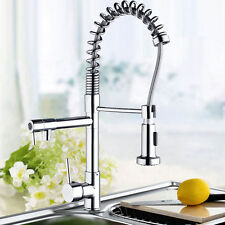 Swivel Spout Kitchen Basin  Sink Mixer Tap Dual Spout Pull Out Faucet ,Chrome