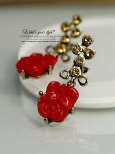 Boucles d`Oreilles Clips Doré Pendant Fleur Rose Rouge Vintage Original J1